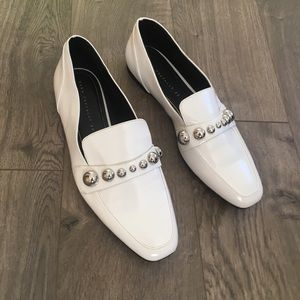 ZARA Trafaluc White Studded Loafer size 9